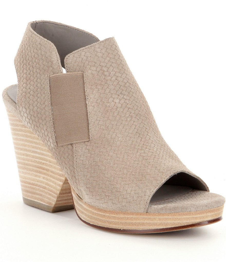 Eileen Fisher Plus Basketweave-Printed Leather & Elastic Block-Heel Sandals