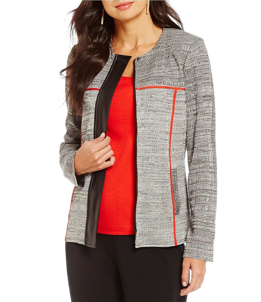 Ming Wang Zip Front Round Neck Faux- Leather Detail Jacket