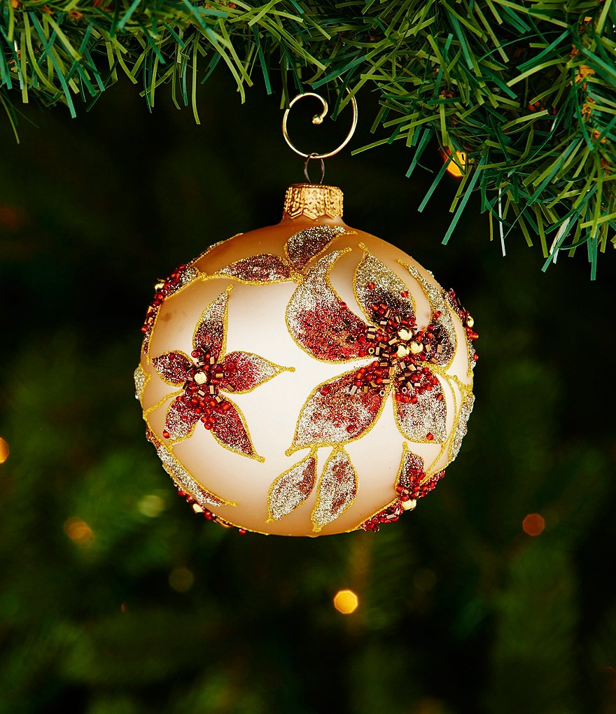 Trimsetter Plaid Tidings Collection Beaded Flower Ball Ornament