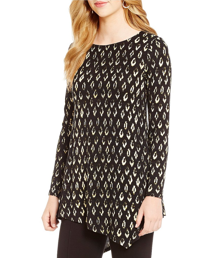 Cupio Printed Long Sleeve Asymmetric Hem Tunic