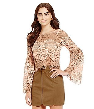 WAYF Time Stops Lace Bell Sleeve Crop Top