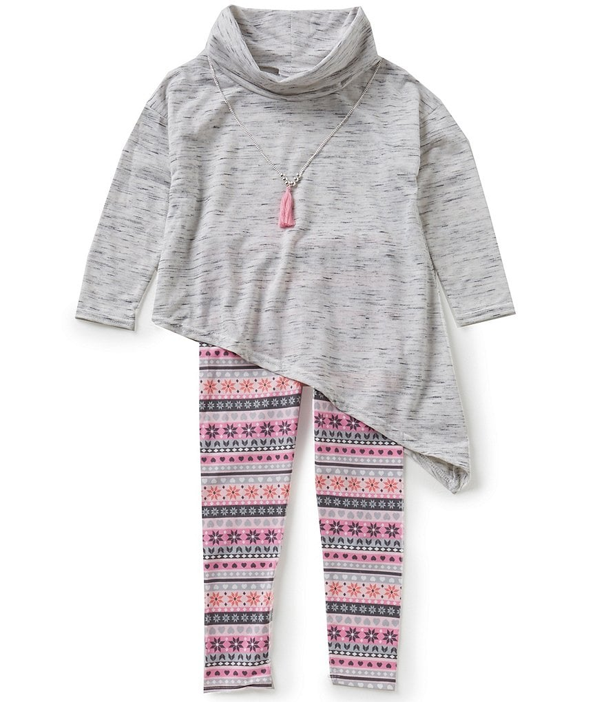 Sweet Heart Rose Little Girls 4-6X Asymmetrical Top & Printed Leggings Set