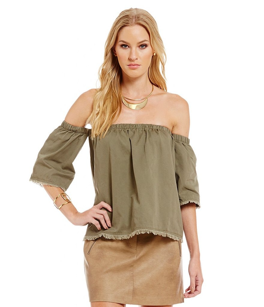 J.O.A. Woven Off-The-Shoulder Bell Sleeve Fringe Detail Top