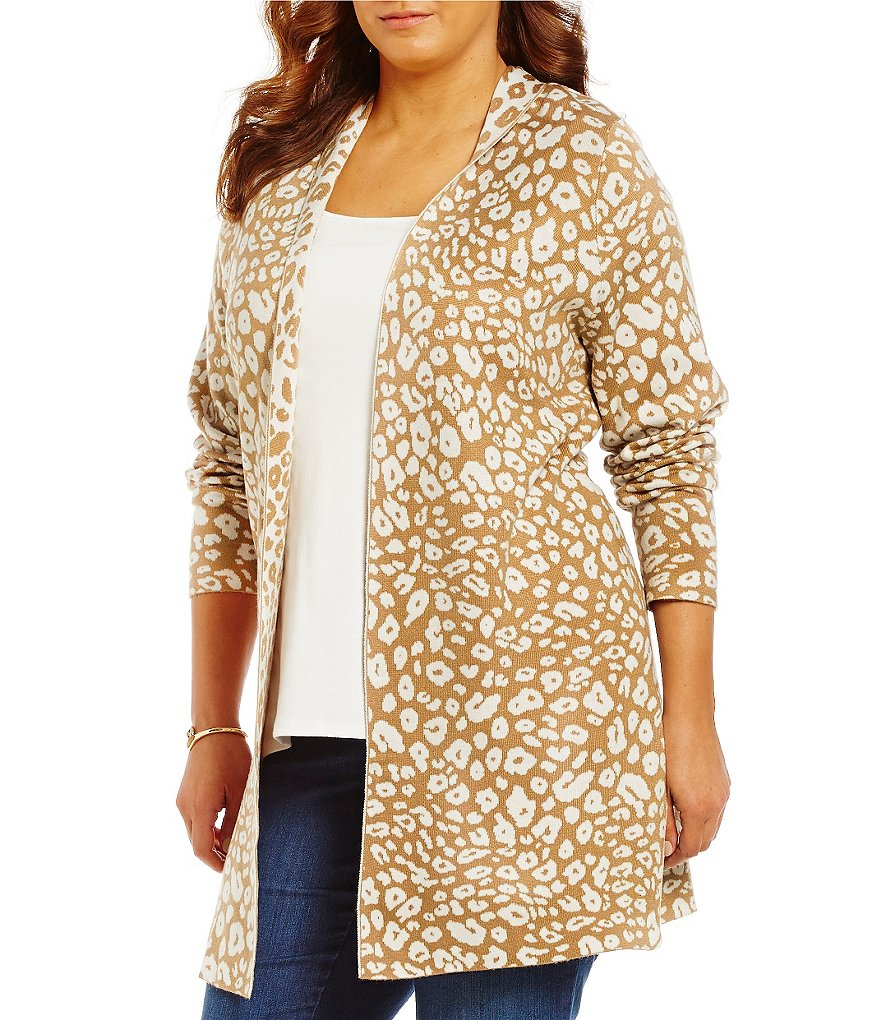 Ruby Rd. Plus Open Front Stretch Double Jacquard Cardigan