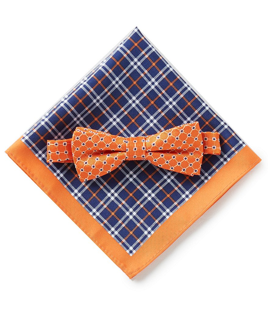 Class Club Geo Bow Tie and Plaid Pocket Square Set