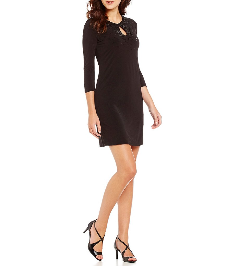 Calvin Klein Beaded Keyhole Neck 3/4 Sleeve Sheath Dress