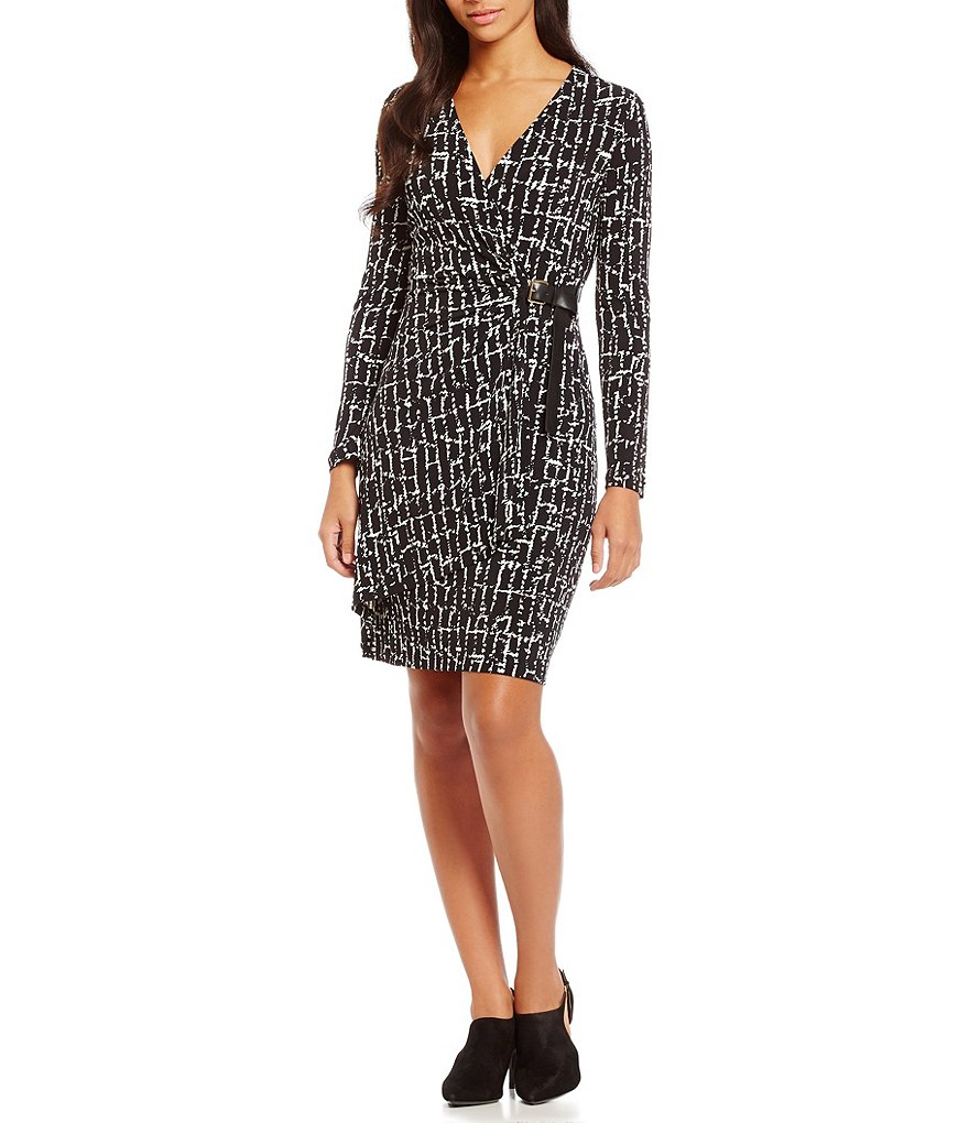 Calvin Klein Printed Faux Wrap Dress