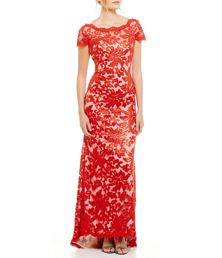 Calvin Klein Cap Sleeve Eyelash Detail Embroidered Gown