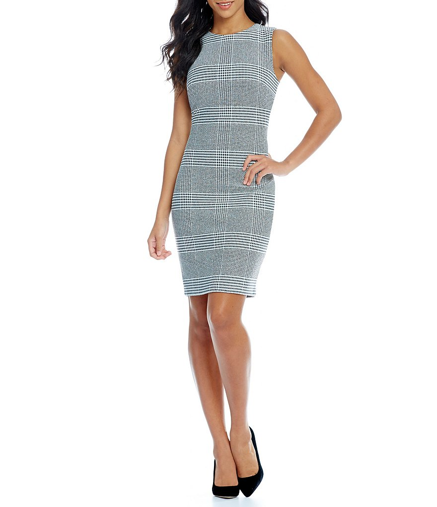 Calvin Klein Sleeveless All Over Plaid Sheath Dress