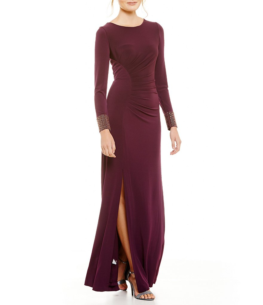 Calvin Klein Long Sleeve Side-Ruched Beaded Cuff Dress