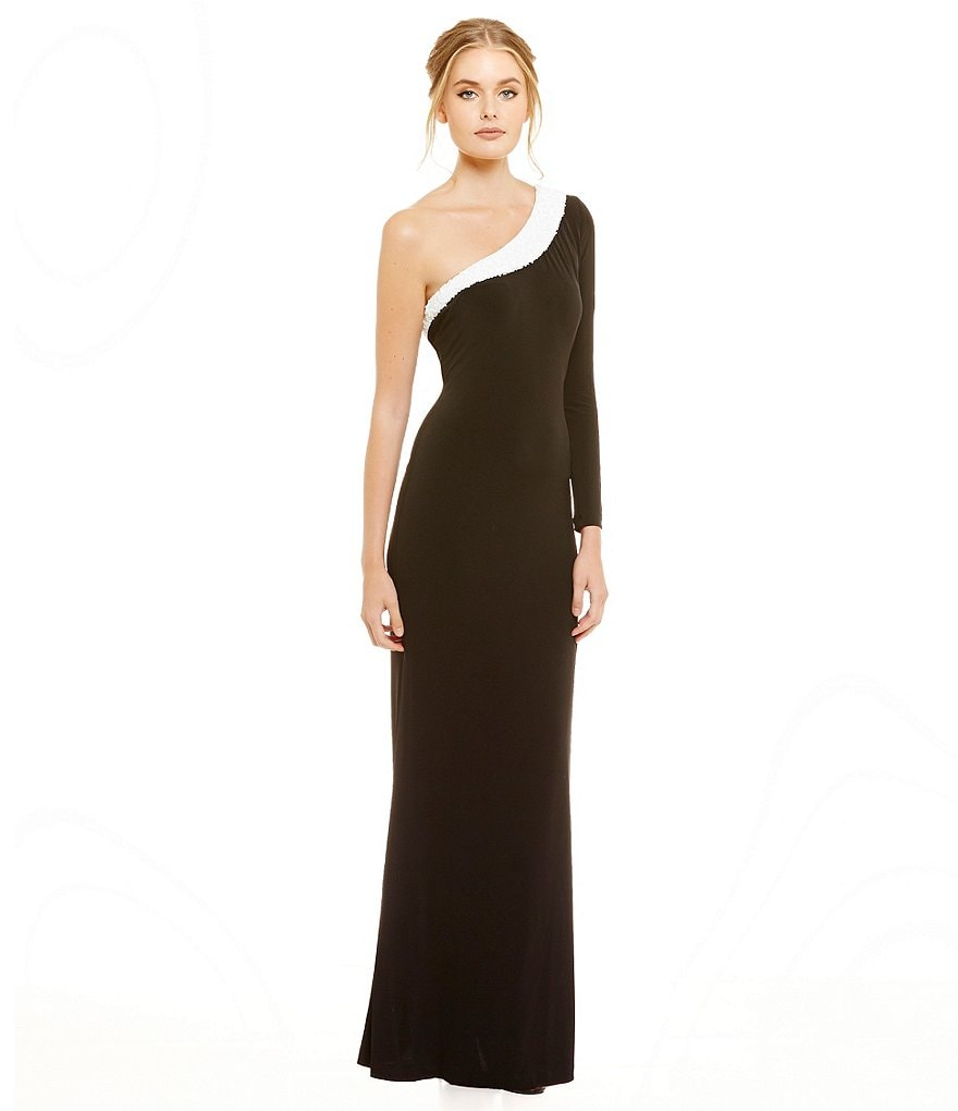 Calvin Klein One Shoulder Long Sleeve Color-Block Gown