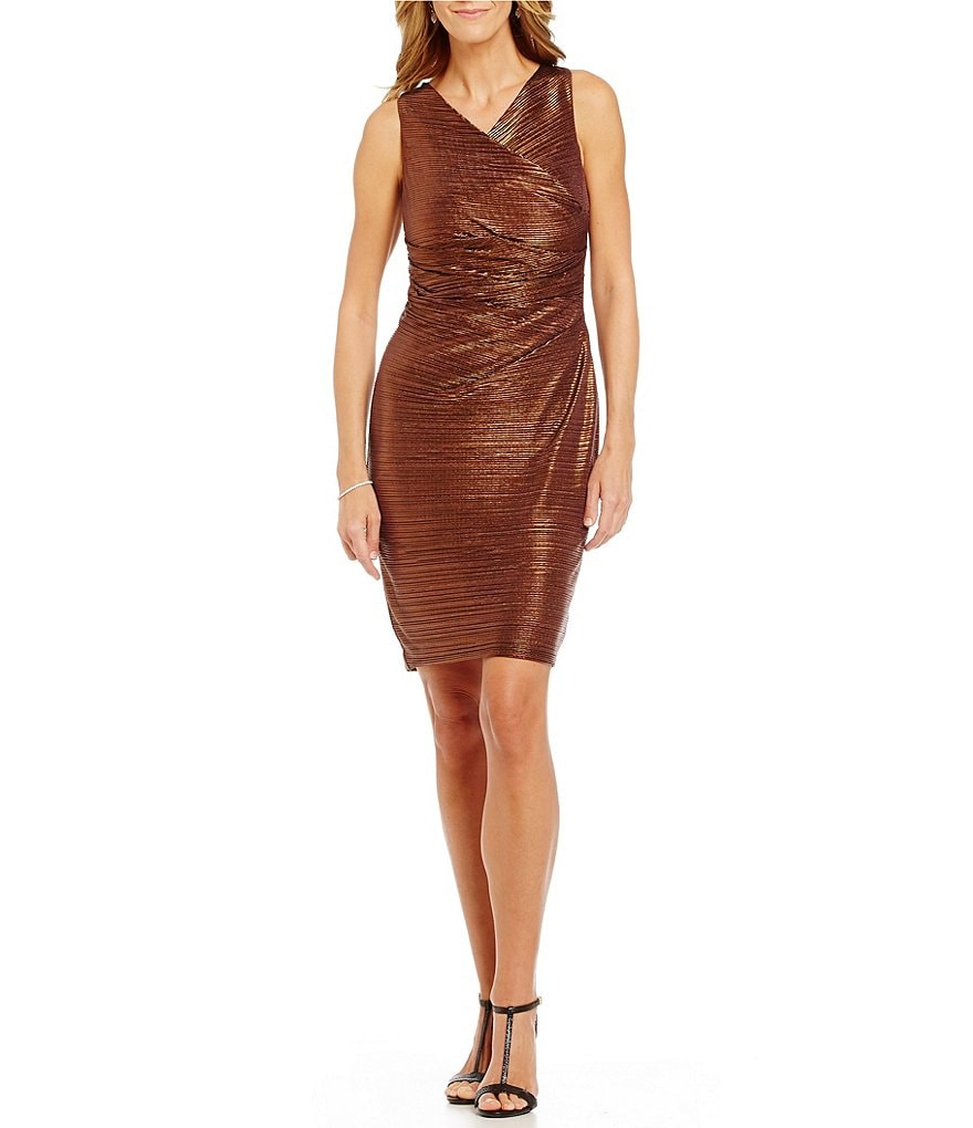 Calvin Klein Metallic Side Pleated Social Sheath Dress