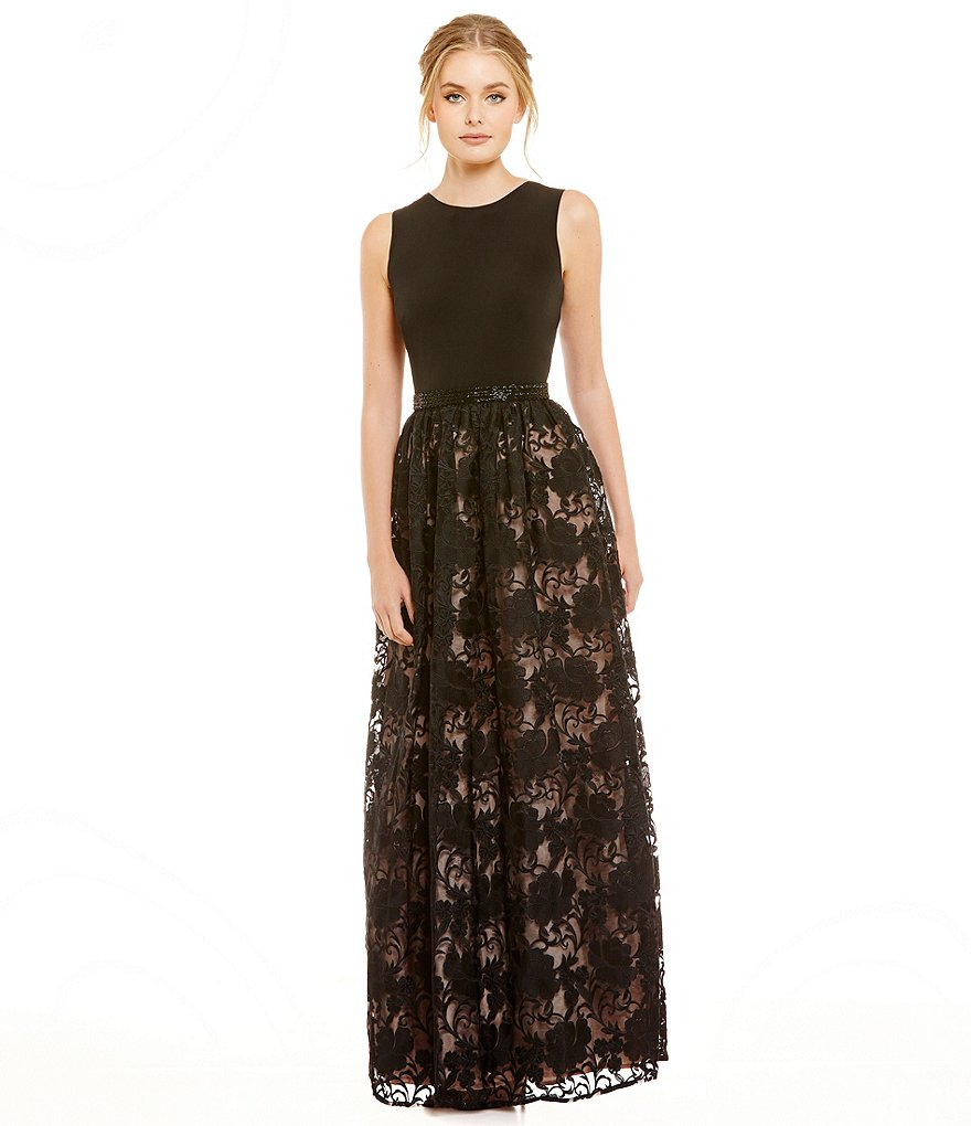 Calvin Klein Beaded Waist Floral Lace Gown