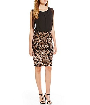 Calvin Klein Floral Sequin Bottom Blouson Dress