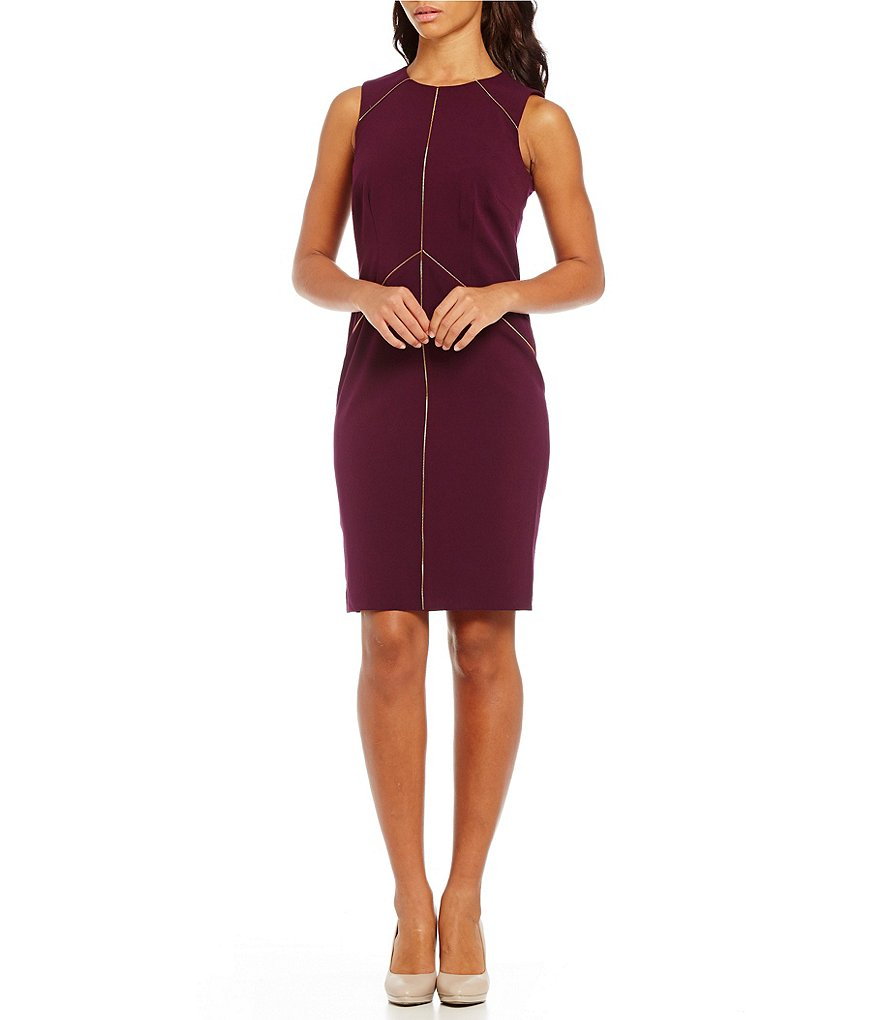 Calvin Klein Zipper Detail Lux Sheath Dress