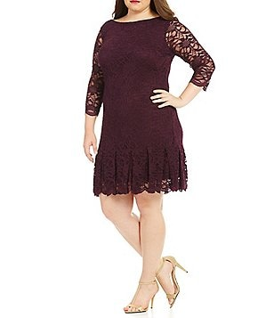 Calvin Klein Plus Round Neck 3/4 Sleeve Scallop Lace Dress