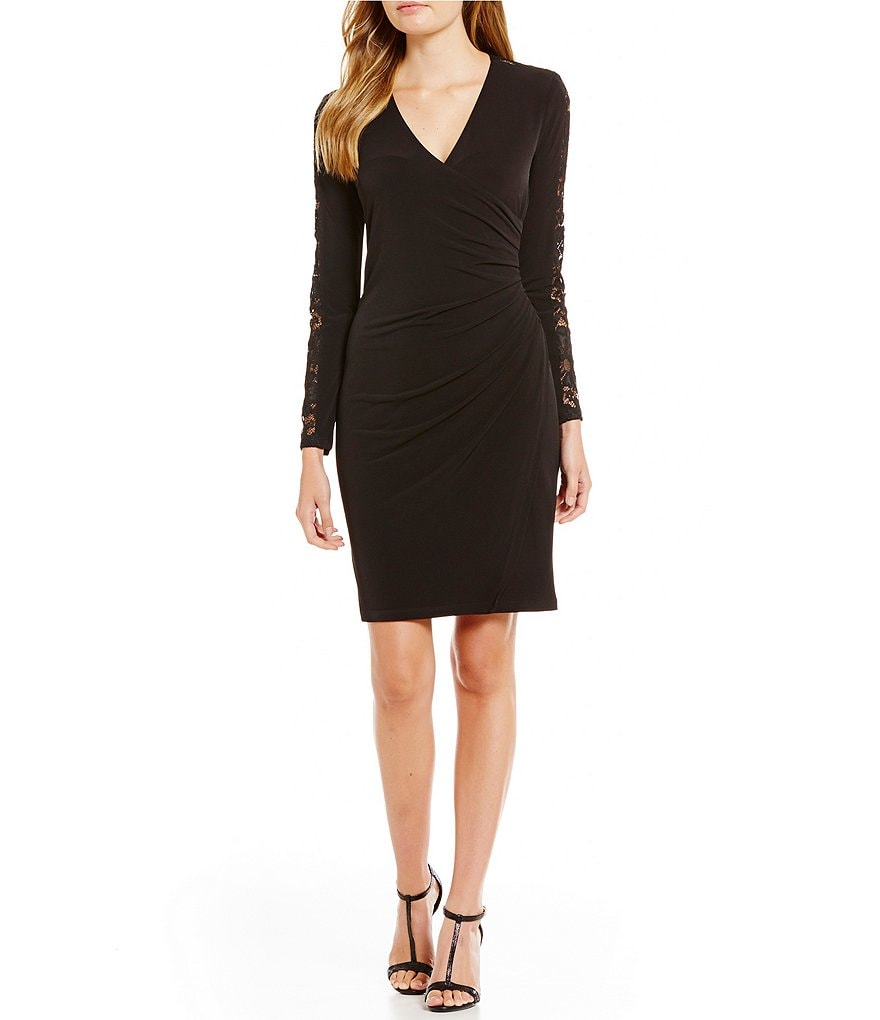 Calvin Klein Petite Faux Wrap Lace Long Sleeve Sheath Dress