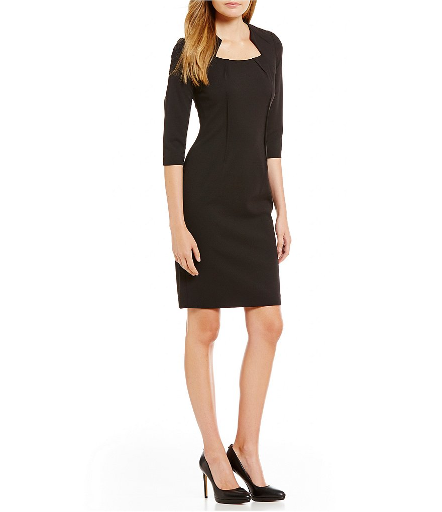 Calvin Klein Petite Sculpted Neck 3/4 Sleeve Sheath Dress