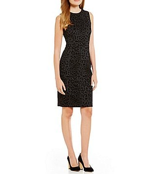 Calvin Klein Petite Animal Flocked Round Neck Sleeveless Scuba Dress