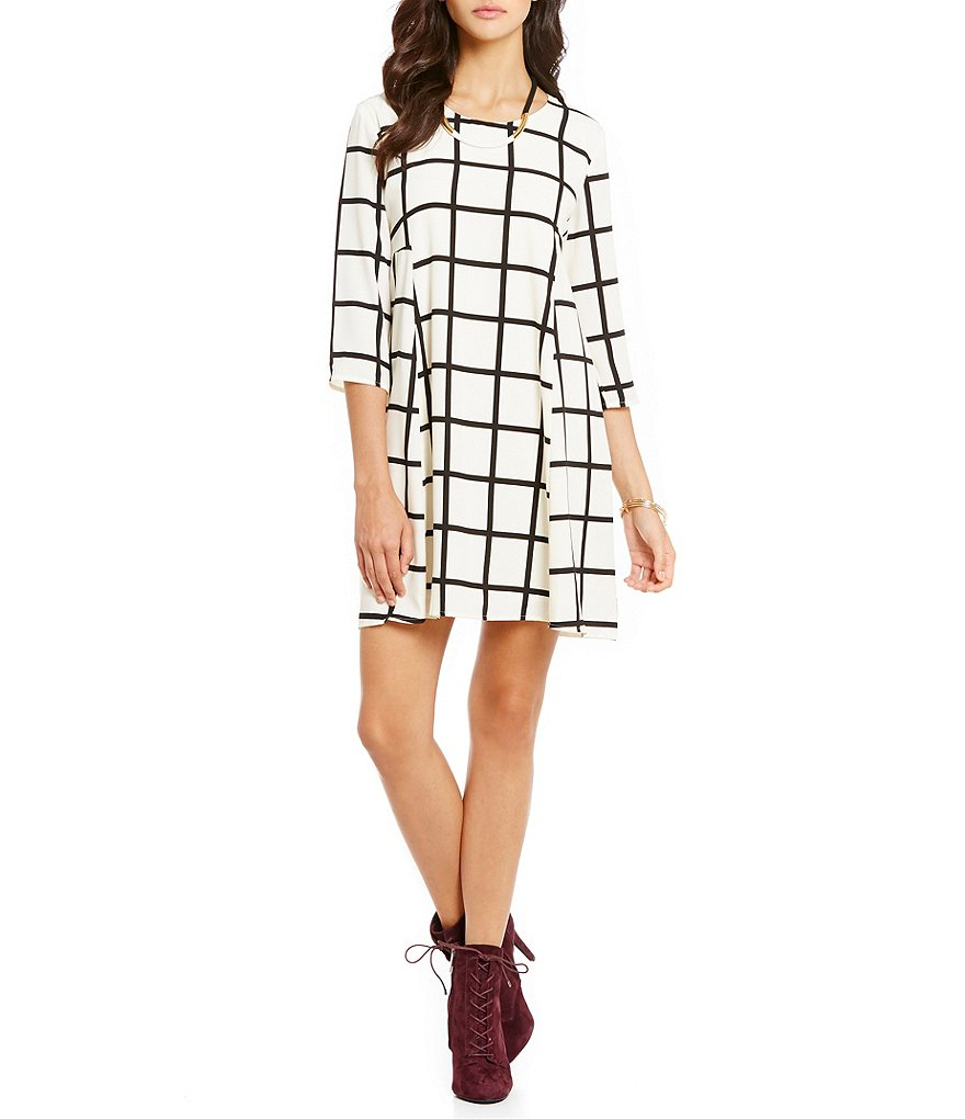 Collective Concepts 3/4 Sleeve Printed Grid Dress