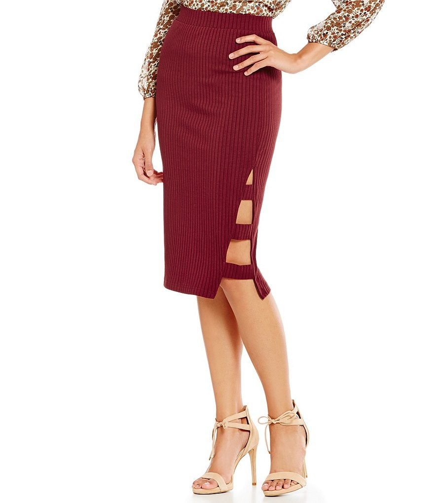 J.O.A. Rib Side Slit Midi Pencil Skirt