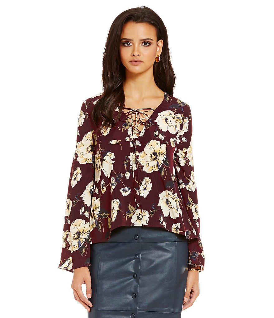 J.O.A. Floral Lace-Up Neck Long Sleeve Top