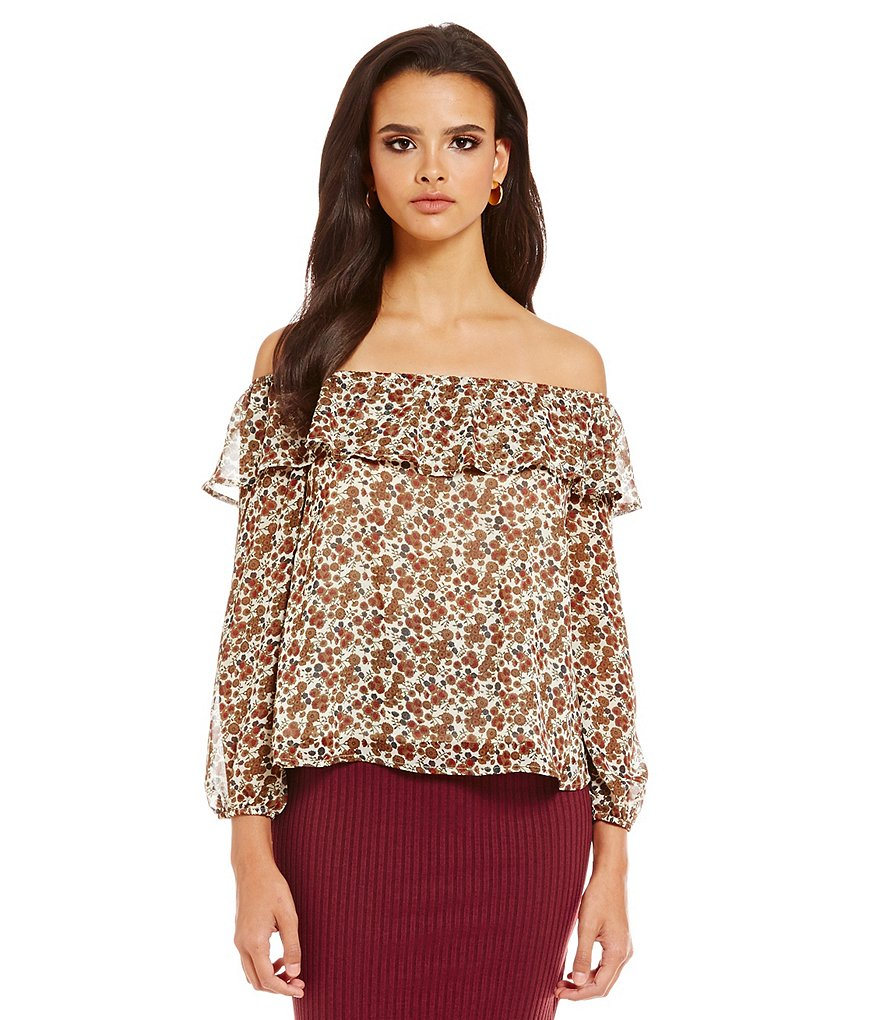 J.O.A. Long Sleeve Off-The-Shoulder Ruffle Top