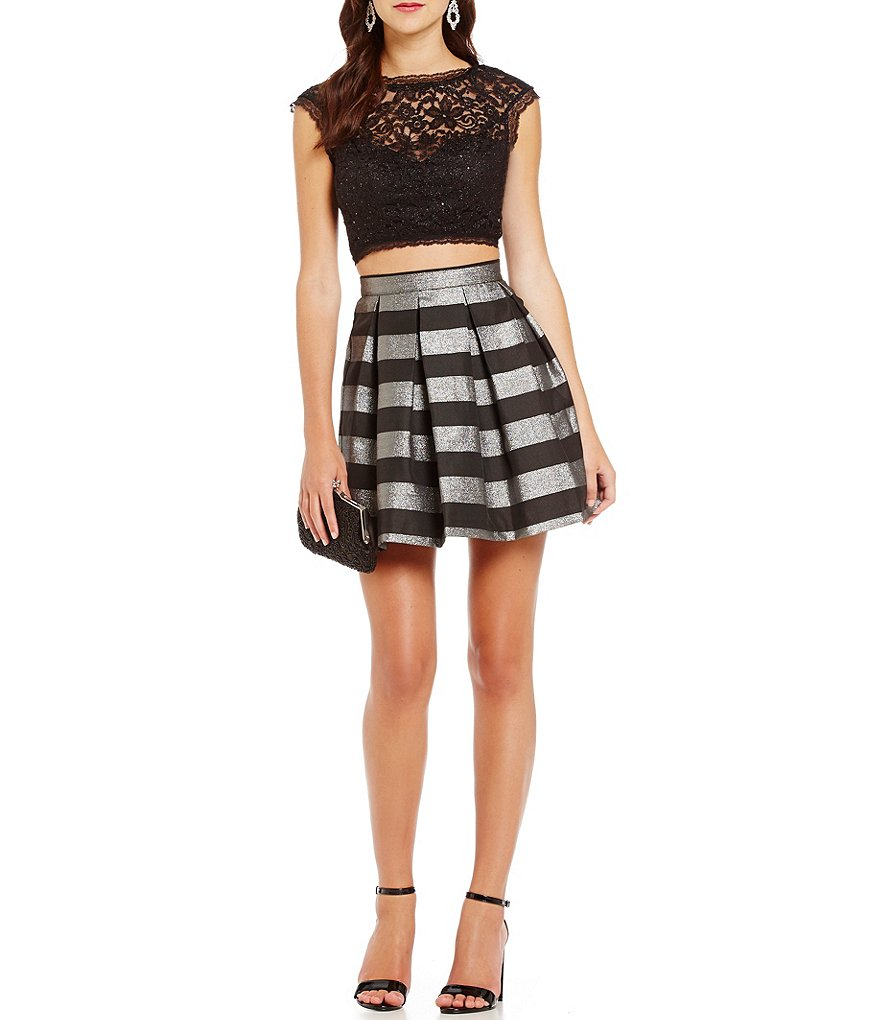 As U Wish Striped Skirt Two-Piece Dress