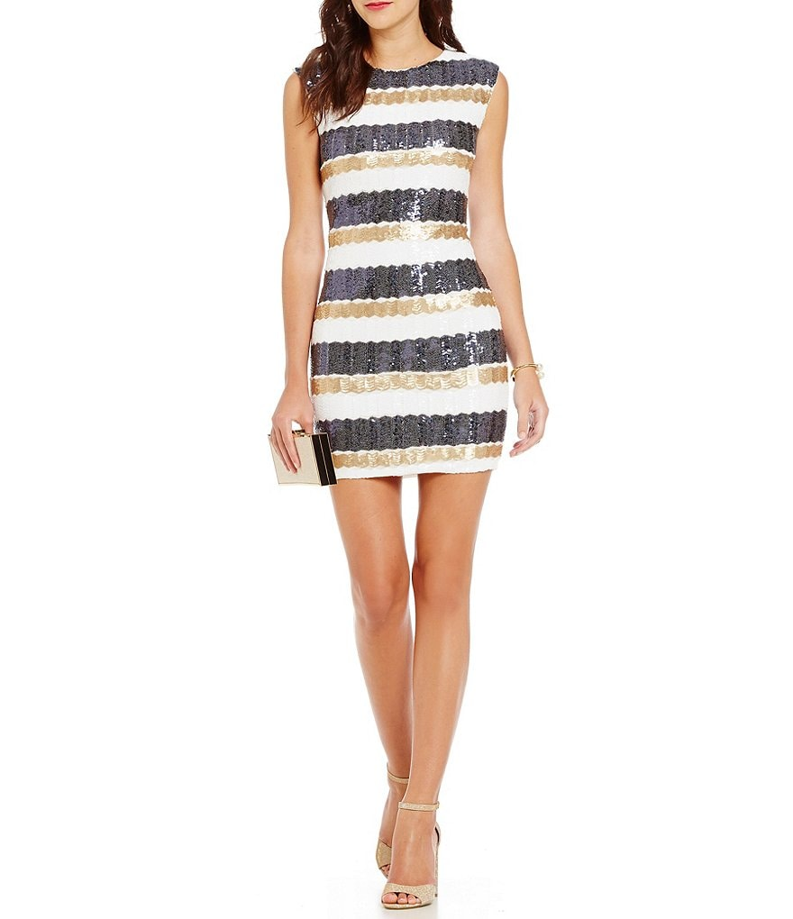 As U Wish Sequin-Embellished Stripe-Pattern Sheath Dress