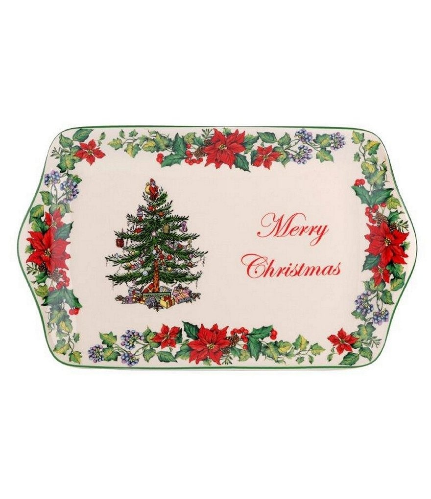 Spode Christmas Tree Annual 2016 Poinsettia Dessert Tray