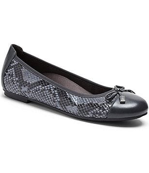 Vionic® Spark Minna Snake-Print Leather Bow Detail Cap-Toe Ballet Flats