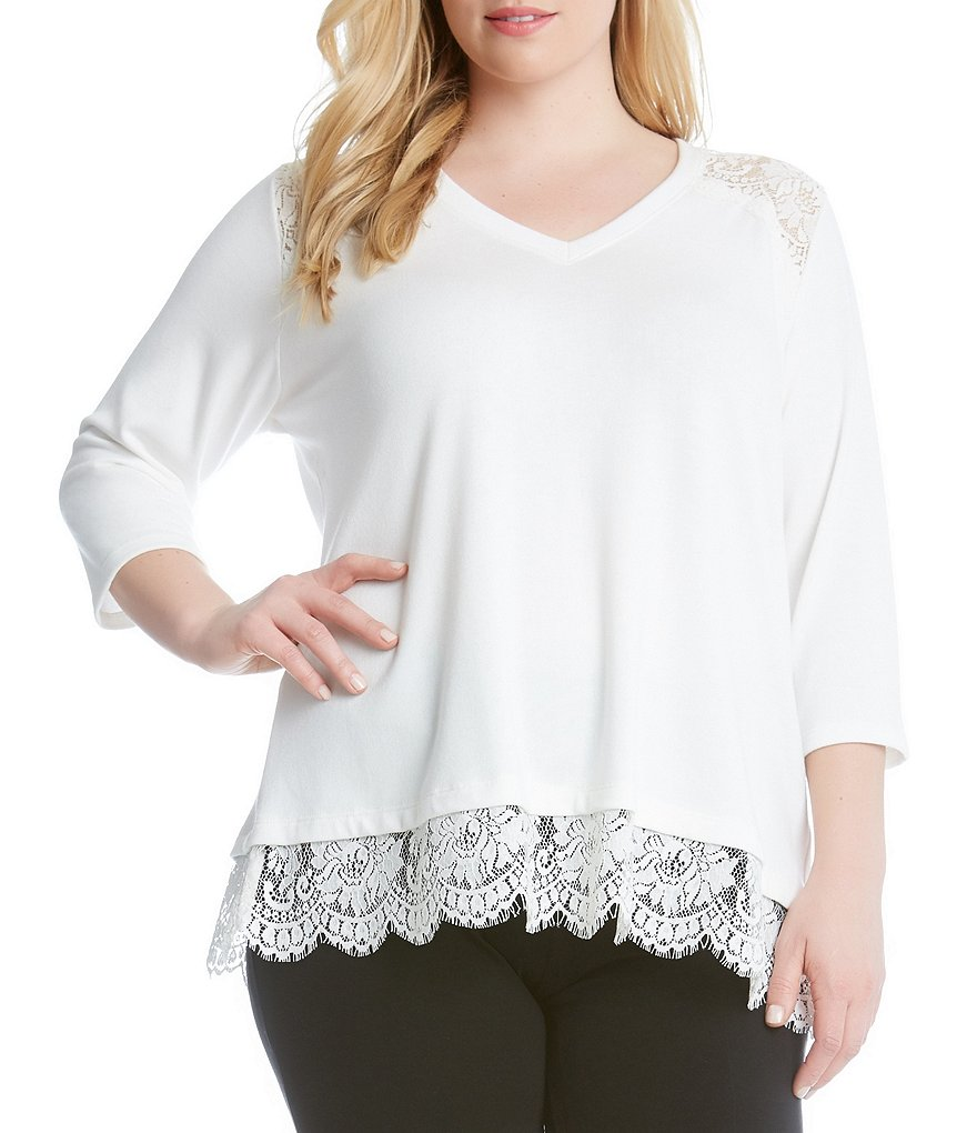Karen Kane Plus Lace Inset Sweater