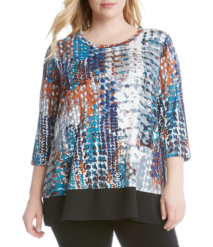 Karen Kane Plus Abstract Print Top with Contrast Hem