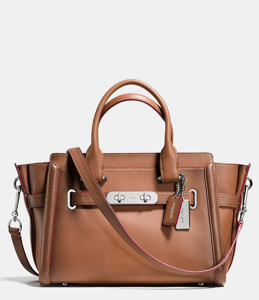 COACH SWAGGER 27 SATCHEL IN BURNISHED LEATHER