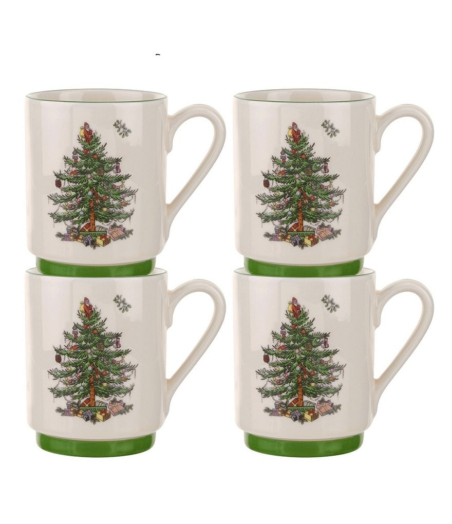 Spode Christmas Tree Stacking Mugs, Set of 4