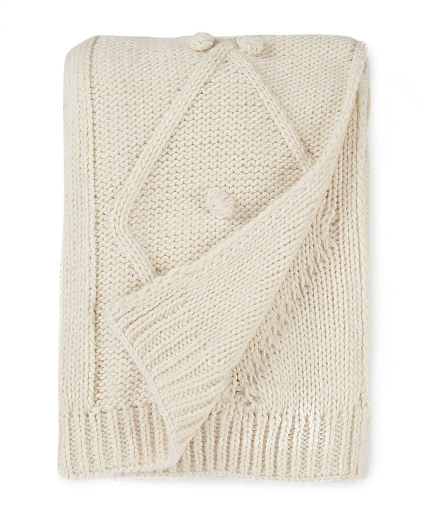 Southern Living Ellason Cable-Knit Pom Pom Throw