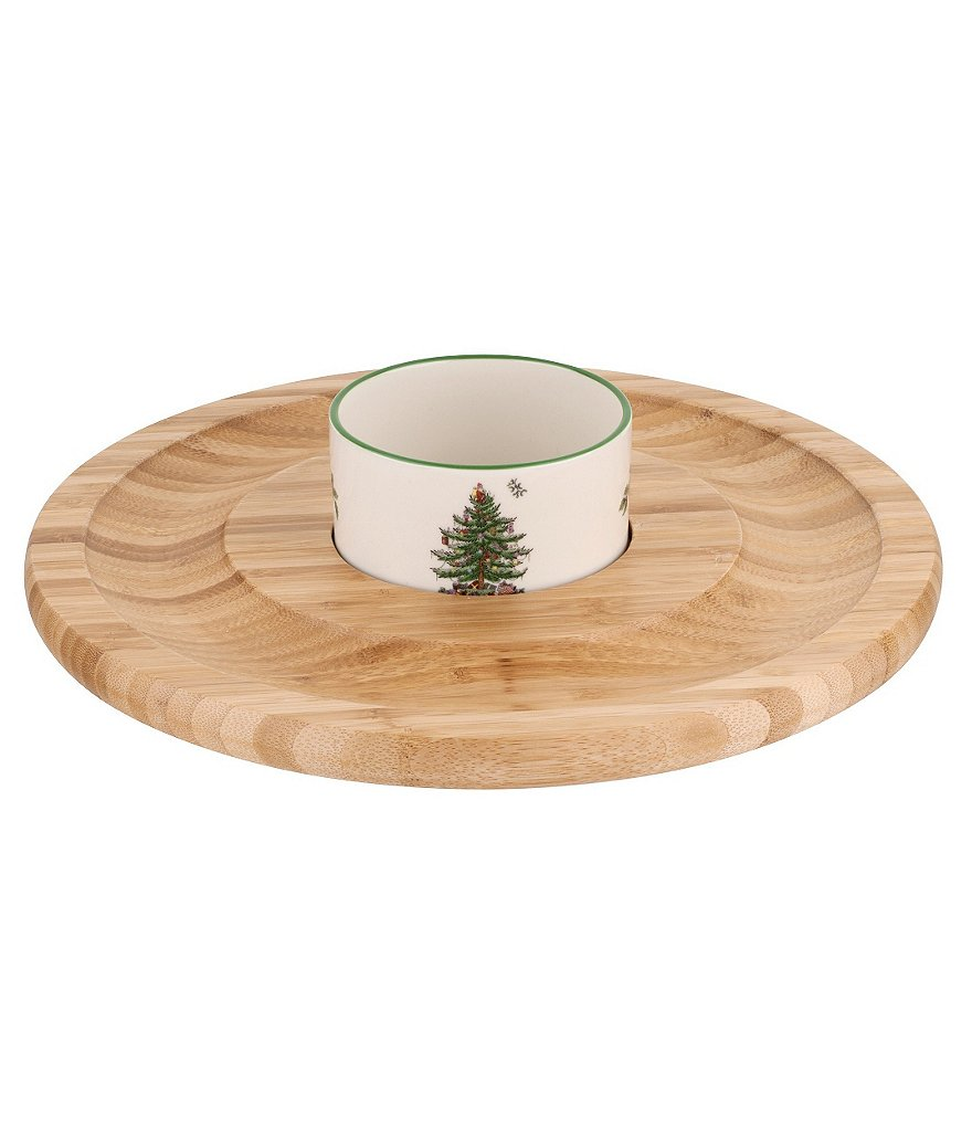 Spode Christmas Tree Entertaining Collection Wood & Ceramic Chip & Dip Server