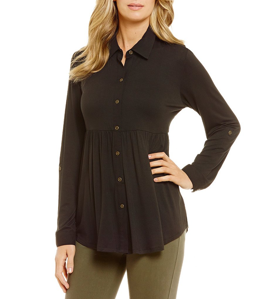 Westbound Petites Babydoll Seamed Button Front Top