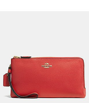 COACH DOUBLE ZIP WALLET IN POLISHED PEBBLE LEATHER
