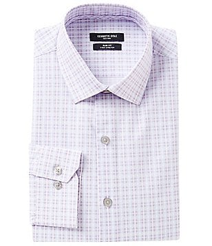 Kenneth Cole New York Slim-Fit Spread-Collar Checked Dress Shirt