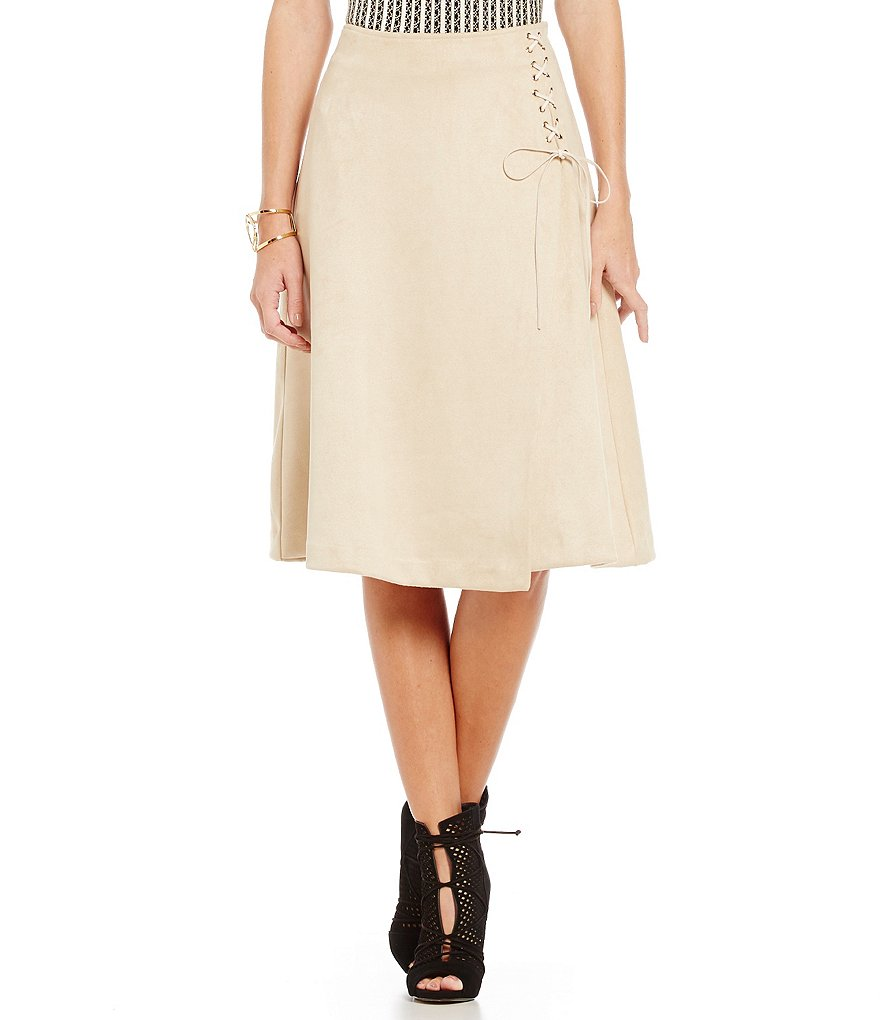 Lucy Paris Iris Lace Faux Suede Skirt