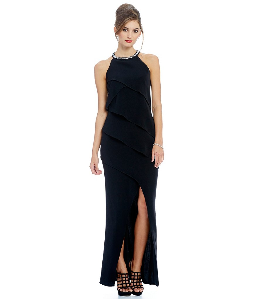 Ignite Evenings Bead-Neck Tiered-Bodice Gown