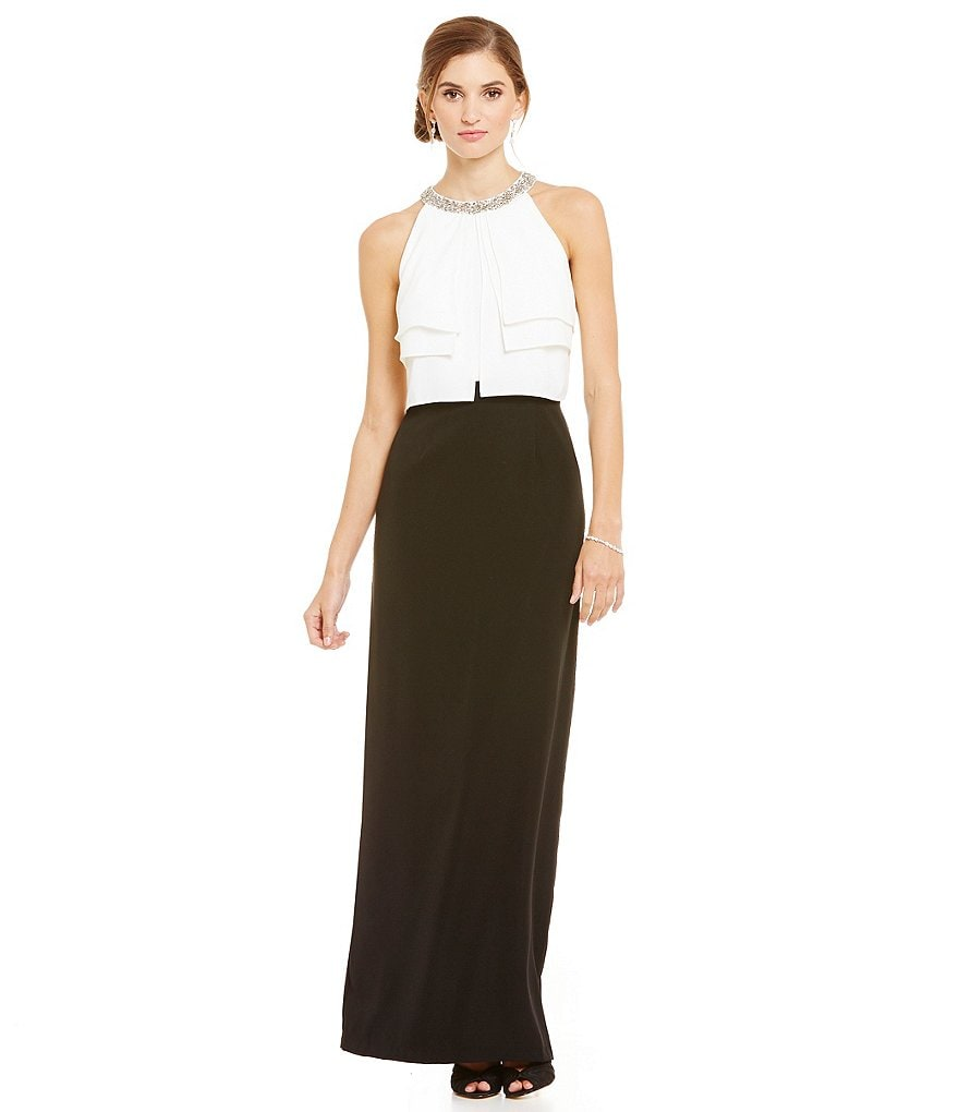 Ignite Evenings Bead-Neck Popover Color Block Gown