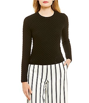 Lucy Paris Fiona Round Neck Long Sleeve Bubble Sweater