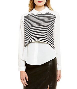 Lucy Paris Stripe Point Collared Long Sleeve Blouse