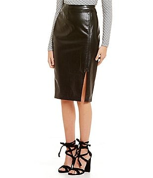 Lucy Paris Angeline Faux-Leather Front Slit Midi Skirt
