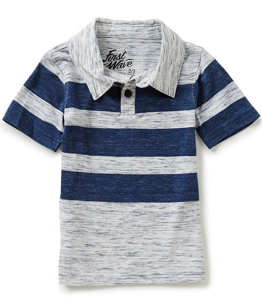First Wave Little Boys 2T-7 Striped Polo Shirt