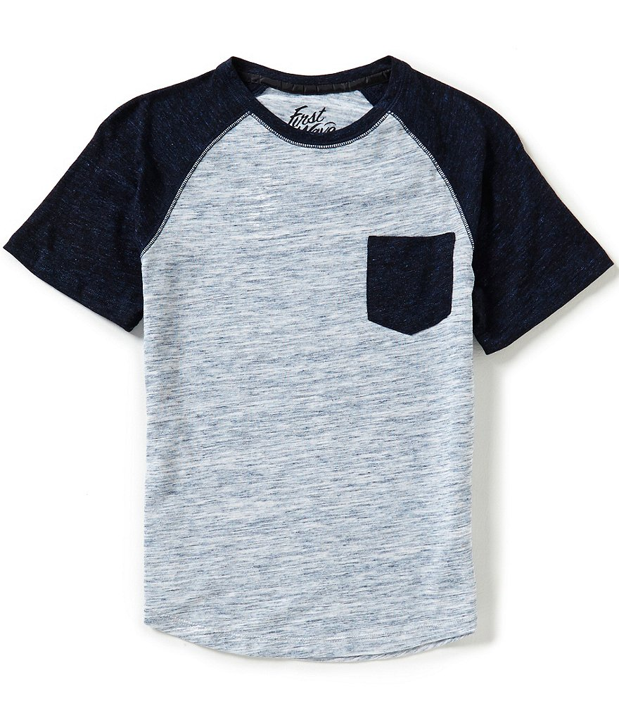 First Wave Little Boys 2T-7 Short-Sleeve Color Block Raglan Pocket Tee