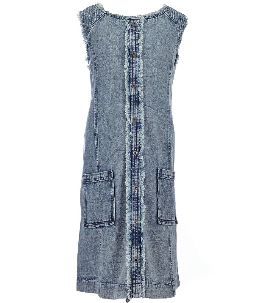 Miss Me Girls Big Girls 7-16 Button-Down Frayed Denim Dress