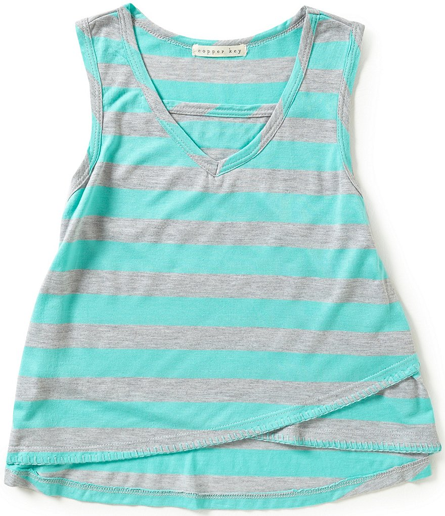 Copper Key Big Girls 7-16 Crossover-Hem Striped Tank
